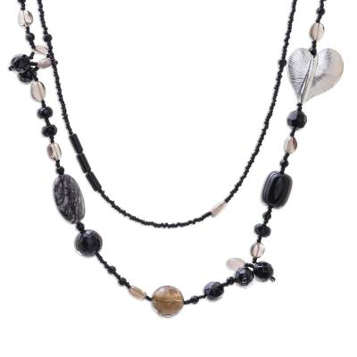 Smoky quartz and onyx heart necklace