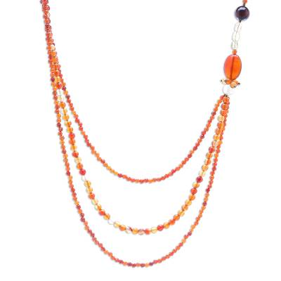 Carnelian and citrine strand necklace