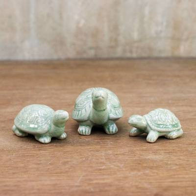 Celadon ceramic statuettes, Lucky Turtles (set of 3)