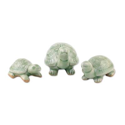 Celadon Ceramic Sculptures (Set of 3)