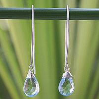 Blue topaz dangle earrings, 'Sublime'