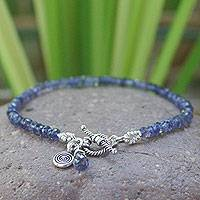 Iolite beaded bracelet, 'Creative Twilight'