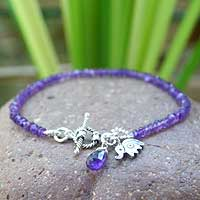 Amethyst beaded bracelet, 'Elephant Fortunes' - Amethyst beaded bracelet