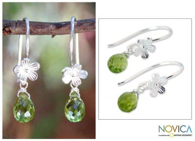 Peridot flower earrings, 'Cool Daisy' - Peridot and Sterling Silver Dangle Earrings