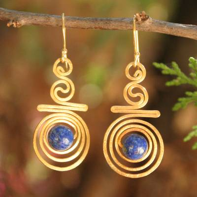 Gold plated lapis lazuli dangle earrings, 'Follow the Dream' - Hand Crafted Lapis Lazuli and 24k Gold Plated Brass Earrings