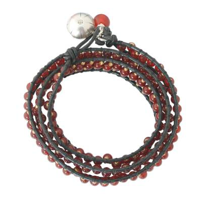 Leather and Carnelian Beaded Bracelet from Thailand