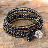 Onyx wrap bracelet, 'All Night' - Handmade Leather and Onyx Beaded Wrap Bracelet