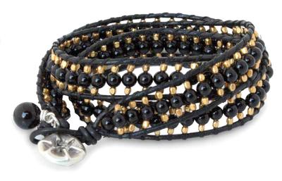 Handmade Leather and Onyx Beaded Wrap Bracelet