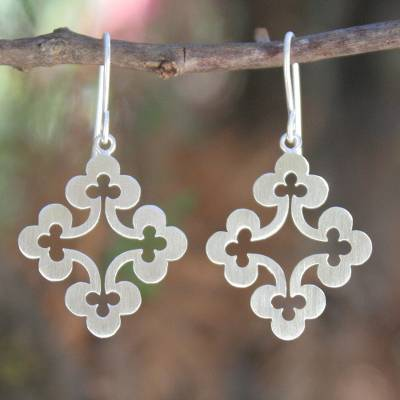 Sterling silver dangle earrings, 'Floral Cross' - Thai Sterling Silver Dangle Earrings