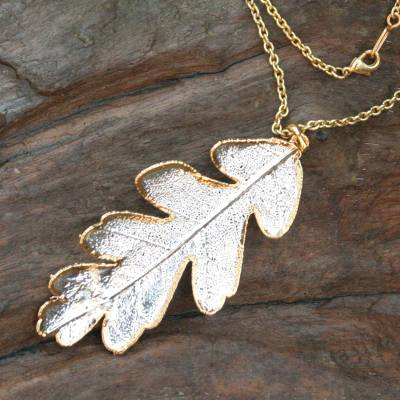 Natural leaf gold accent pendant necklace, 'Filigree Oak' - Natural leaf gold accent pendant necklace