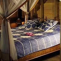 Cotton bedspread, 'Indigo Cross' (twin) (Thailand)
