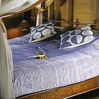 Cotton bedspread, 'Indigo Paths' (full/queen) - Unique Cotton Striped Bedspread (Full/Queen)