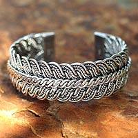 Silver cuff bracelet, 'Ebb and Flow'