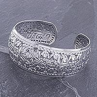 Sterling silver cuff bracelet, 'Precious Garland' - Unique Floral Sterling Silver Cuff Bracelet