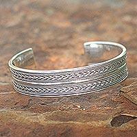 Sterling silver cuff bracelet, 'Parallel Splendor'