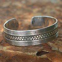 Sterling silver cuff bracelet, 'Wisdoms'