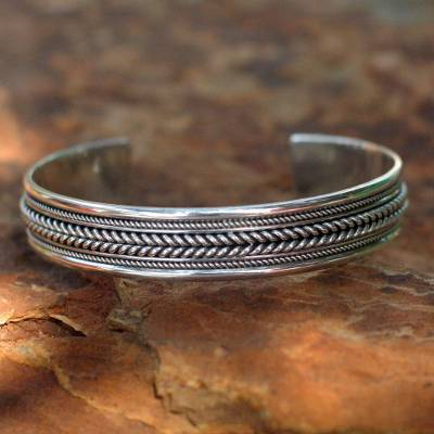 Sterling silver cuff bracelet, 'Lanna Illusions' - Sterling Silver Cuff Bracelet