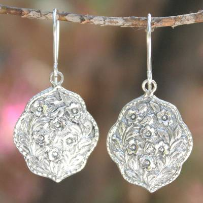 Sterling silver flower earrings, Spring Bouquet
