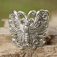 Sterling silver cocktail ring, 'Spring Butterfly'