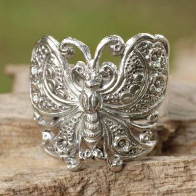 Sterling silver cocktail ring, Spring Butterfly