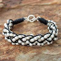 Pearl wristband bracelet, 'Snowy Paths' - Hand Made Leather and Pearl Bracelet
