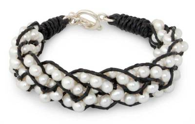Hand Made Leather and Pearl Bracelet