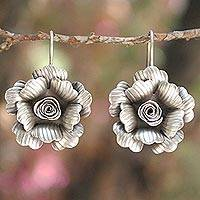 Silver flower earrings, 'Chiang Mai Jasmine' - Artisan Crafted Silver Drop Earrings