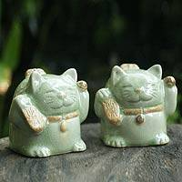Celadon ceramic statuettes, 'Fortune Cats' (pair) - Handcrafted Celadon Ceramic Sculptures (Pair)