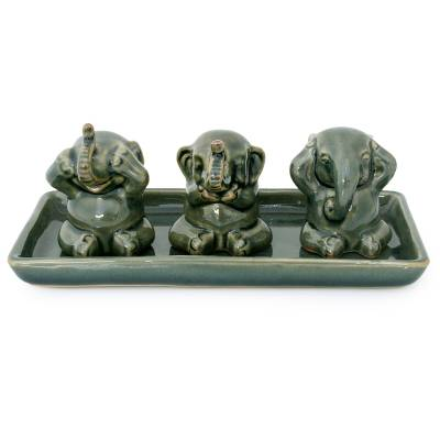 Unique Celadon Ceramic Figurines (Set of 3)