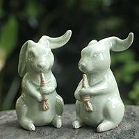 Celadon ceramic figurines Bunnies pair Thailand