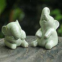 Celadon ceramic statuettes, 'Happy Green Elephants' (pair) - Hand Made Celadon Ceramic Sculptures (Pair)