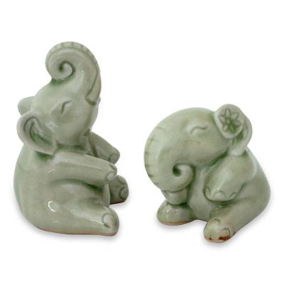 Hand Made Celadon Ceramic Sculptures (Pair)
