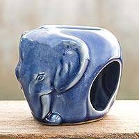 Celadon ceramic oil warmer, 'Sapphire Elephant' - Celadon Ceramic Oil Warmer