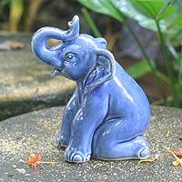 Celadon ceramic statuette Blue Elephant Welcome Thailand