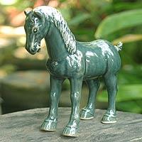 Celadon ceramic figurine Chariot Horse Thailand