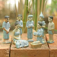 Celadon ceramic nativity scene, 'Thai Christmas' (set of 9)