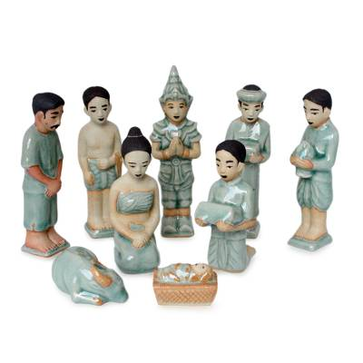 Celadon ceramic nativity scene, 'Thai Christmas' (set of 9) - Celadon Ceramic Nativity Scene (Set of 9)