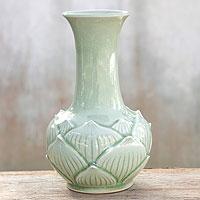 Celadon ceramic vase, 'Jade Lotus' - Celadon ceramic vase