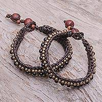 Onyx wristband bracelets, 'Tribal Chic' (pair)