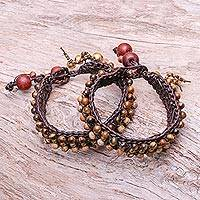 Featured review for Tigers eye and jasper wristband bracelets, Autumns Voice (pair)