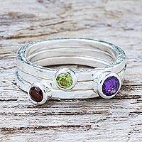 Amethyst and garnet stacking rings, Spring Color (set of 3)