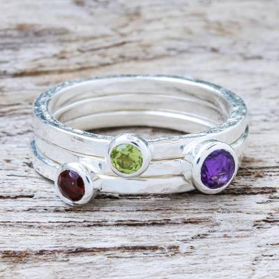 Amethyst and garnet stacking rings, 'Spring Color' (set of 3) - Handcrafted Amethyst and Garnet Stacking Rings (Set of 3)