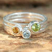 Peridot, topaz, and citrine stacking rings, 'Spring Rainbow' (set of 3) - Peridot and Citrine Stacking Rings (Set of 3)