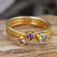 Gold vermeil blue topaz and pink tourmaline stacking rings, 'Spring Glow' (set of 3) - Gold Plated Multigem Stacking Rings (Set of 3)