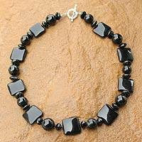 Onyx beaded necklace, 'Black Lily' - Beaded Onyx Necklace from Thailand