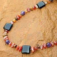 Onyx and amethyst beaded necklace, 'Autumn Orchid' - Onyx and Amethyst Beaded Necklace