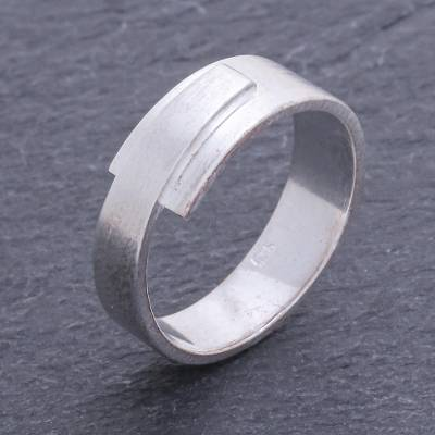Men's sterling silver ring, 'Solemn Monarch' - Men's Modern Sterling Silver Ring from Thailand