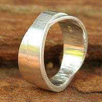Men's sterling silver band ring, 'Crusader' - Fair Trade Modern Sterling Silver Band Ring