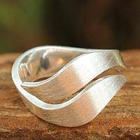 Sterling silver band ring, 'Phuket Dreams'
