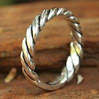 Sterling silver band ring, 'Lives Entwined' - Sterling silver band ring